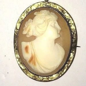 Jewelry - 10k GOLD Cameo Brooch Victorian pendant